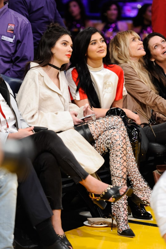 Kylie Jenner With Her Sister Kendall Jenner At LA's Basketball Game