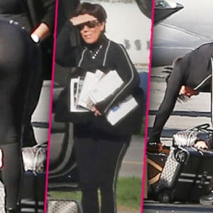 Kris Jenner ass bent over