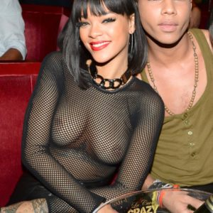 Rihanna see through top